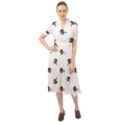 Ugly Monster Fish Drawing Keyhole Neckline Chiffon Dress