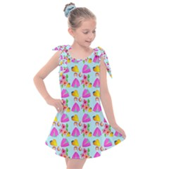 Girl With Hood Cape Heart Lemon Pattern Blue Kids  Tie Up Tunic Dress