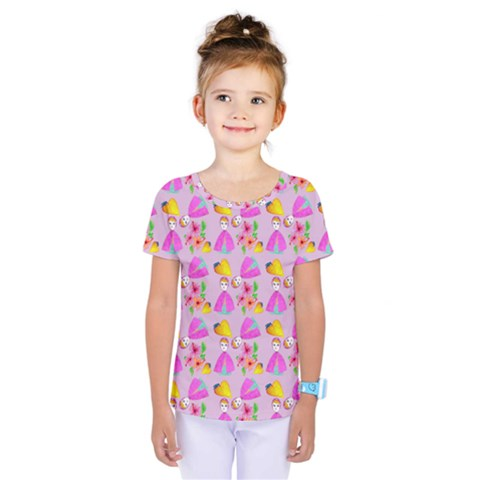 Girl With Hood Cape Heart Lemon Pattern Lilac Kids  One Piece Tee by snowwhitegirl