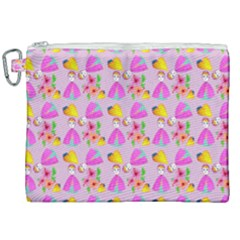 Girl With Hood Cape Heart Lemon Pattern Lilac Canvas Cosmetic Bag (xxl)