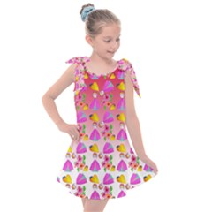 Girl With Hood Cape Heart Lemon Pattern Red Ombre Kids  Tie Up Tunic Dress