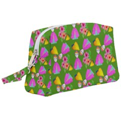 Girl With Hood Cape Heart Lemon Pattern Green Wristlet Pouch Bag (large)