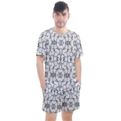 Grey And White Abstract Geometric Print Men s Mesh Tee And Shorts Set