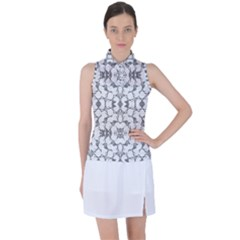 Grey And White Abstract Geometric Print Women s Sleeveless Polo Tee