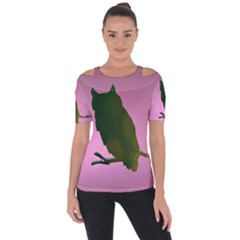 Owl Bird Branch Nature Animal Shoulder Cut Out Short Sleeve Top