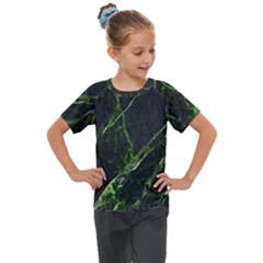 Marble Black Green Texture Kids  Mesh Piece Tee
