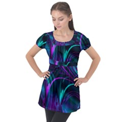 Drunk Vision Puff Sleeve Tunic Top