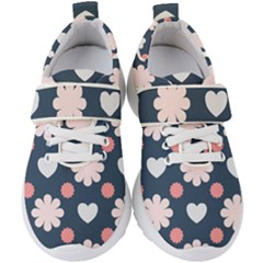 Flowers And Hearts  Kids  Velcro Strap Shoes