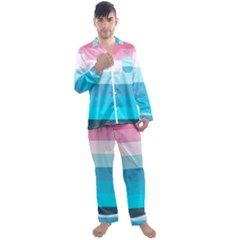 Sea And Sunset Men s Long Sleeve Satin Pyjamas Set