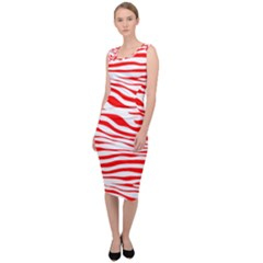 Red And White Zebra Sleeveless Pencil Dress