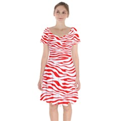 Red And White Zebra Short Sleeve Bardot Dress