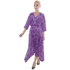 Purple Big Cat Pattern Quarter Sleeve Wrap Front Maxi Dress by Angelandspot