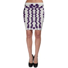Blue Flowers Of Peace Small Of Love Bodycon Skirt