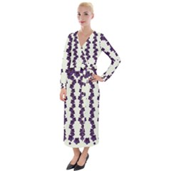 Blue Flowers Of Peace Small Of Love Velvet Maxi Wrap Dress