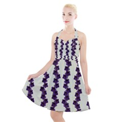 Blue Flowers Of Peace Small Of Love Halter Party Swing Dress