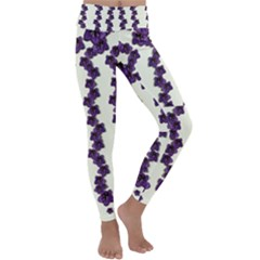 Blue Flowers Of Peace Small Of Love Kids  Lightweight Velour Classic Yoga Leggings