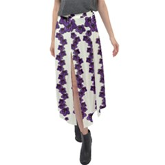 Blue Flowers Of Peace Small Of Love Velour Split Maxi Skirt