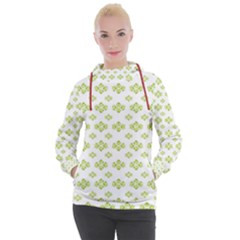 Bright Leaves Motif Print Pattern Design Women s Hooded Pullover