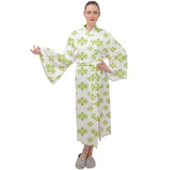 Bright Leaves Motif Print Pattern Design Maxi Velour Kimono by dflcprintsclothing