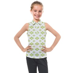 Bright Leaves Motif Print Pattern Design Kids  Sleeveless Polo Tee