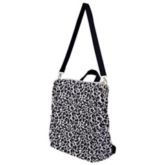 Leopard Spots, White, Brown Black, Animal Fur Print Crossbody Backpack by Casemiro