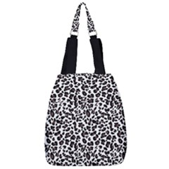 Leopard Spots, White, Brown Black, Animal Fur Print Center Zip Backpack by Casemiro