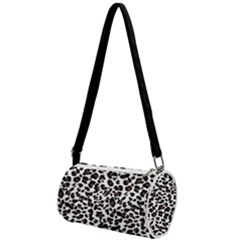 Leopard Spots, White, Brown Black, Animal Fur Print Mini Cylinder Bag by Casemiro