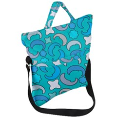 Cloudy Blue Moon Fold Over Handle Tote Bag