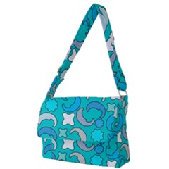Cloudy Blue Moon Full Print Messenger Bag (l) by tmsartbazaar