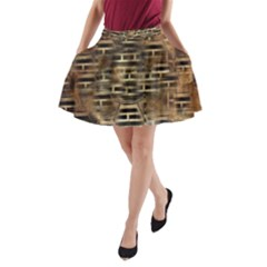 Textures Brown Wood A-line Pocket Skirt