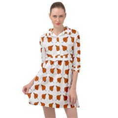 Fallen Leaves Autumn Mini Skater Shirt Dress by HermanTelo