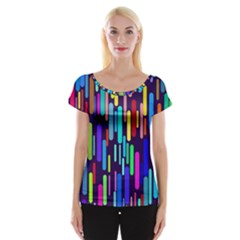 Abstract Line Cap Sleeve Top