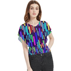 Abstract Line Butterfly Chiffon Blouse
