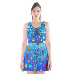Fractal Art School Of Fishes Scoop Neck Skater Dress by WolfepawFractals