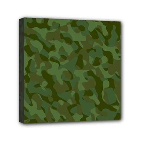 Green Army Camouflage Pattern Mini Canvas 6  X 6  (stretched) by SpinnyChairDesigns