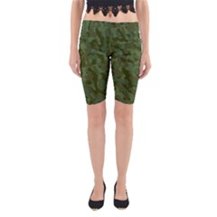 Green Army Camouflage Pattern Yoga Cropped Leggings by SpinnyChairDesigns