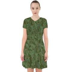 Green Army Camouflage Pattern Adorable In Chiffon Dress