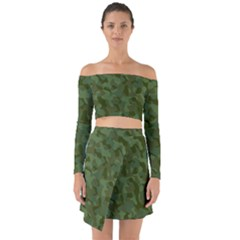 Green Army Camouflage Pattern Off Shoulder Top With Skirt Set