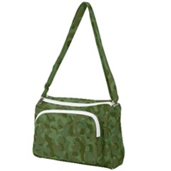 Green Army Camouflage Pattern Front Pocket Crossbody Bag by SpinnyChairDesigns