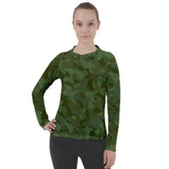 Green Army Camouflage Pattern Women s Pique Long Sleeve Tee