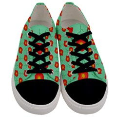 Flower Pattern Ornament Men s Low Top Canvas Sneakers