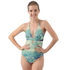 Landscape Mountains Lake River Halter Cut-out One Piece Swimsuit by HermanTelo