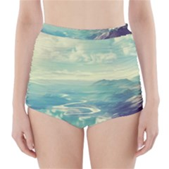 Landscape Mountains Lake River High-waisted Bikini Bottoms