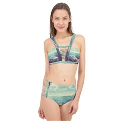 Landscape Mountains Lake River Cage Up Bikini Set