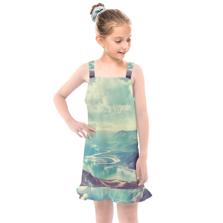 Landscape Mountains Lake River Kids  Overall Dress