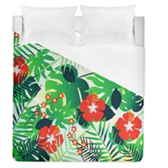 Tropical Leaf Flower Digital Duvet Cover (queen Size) by Mariart