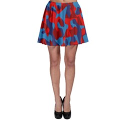 Red And Blue Camouflage Pattern Skater Skirt by SpinnyChairDesigns