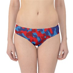 Red And Blue Camouflage Pattern Hipster Bikini Bottoms by SpinnyChairDesigns