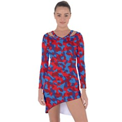Red And Blue Camouflage Pattern Asymmetric Cut-out Shift Dress
