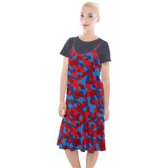Red And Blue Camouflage Pattern Camis Fishtail Dress by SpinnyChairDesigns